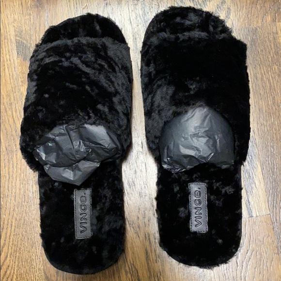 shearling open toe slippers